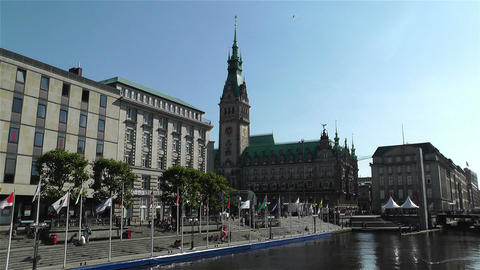 Hamburg Downtown Germany 4 rathaus kleine alster Footage