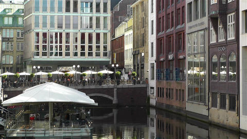 Hamburg Downtown Germany 8 canal Footage