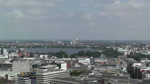 Hamburg Germany Aerial 3 heinrich hertz tower Stock Video Footage