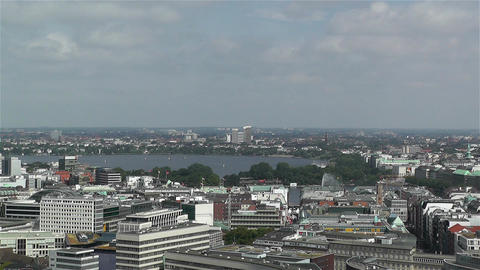 Hamburg Germany Aerial 3 heinrich hertz tower Stock Video Footage