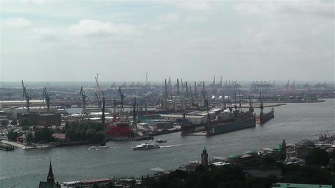 Hamburg Germany Aerial 5 port Stock Video Footage