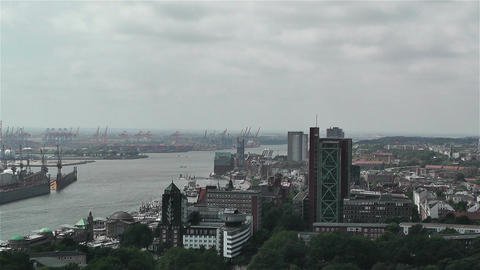 Hamburg Germany Aerial 7 port Footage