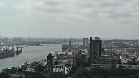 Hamburg Germany Aerial 7 port Stock Video Footage