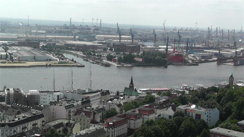 Hamburg Germany Aerial 11 port Stock Video Footage