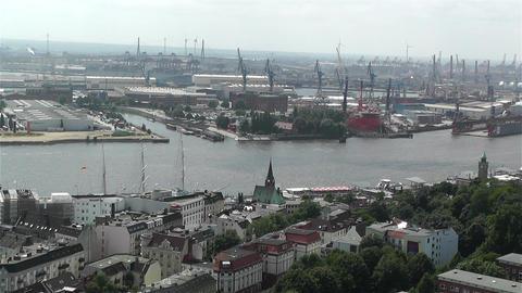Hamburg Germany Aerial 11 port Stock Video Footage