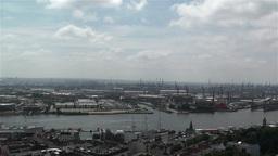 Hamburg Germany Aerial 13 port Stock Video Footage