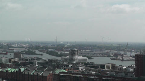Hamburg Germany Aerial 15 port Stock Video Footage