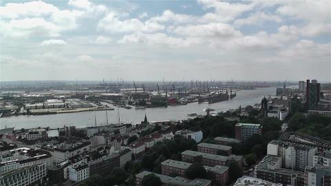 Hamburg Germany Aerial 23 port Stock Video Footage