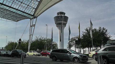Munich Airport Germany Exterior 6 tower Stock Video Footage