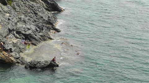 Palamos Beach Costa Brava Spain 28 rocky Stock Video Footage