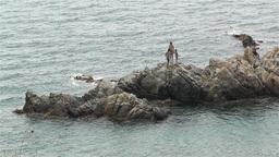 Palamos Beach Costa Brava Spain 30 rocky Stock Video Footage