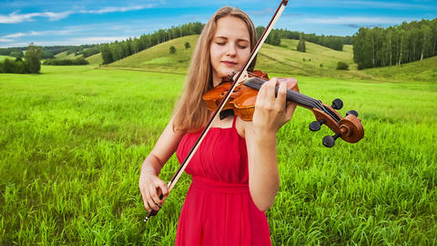 Violinist plays on a green meadow Stock Video Footage