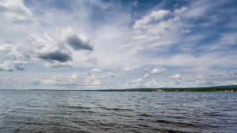 Siberian lake waves and blue sky. Shot in RAW, wid Stock Video Footage