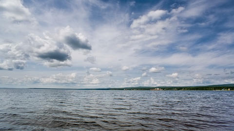 Siberian Lake Waves And Blue Sky. Shot In RAW, Wid stock footage
