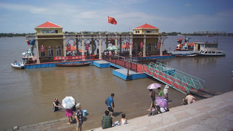 Harbin City. Passenger Pier on the River Songhua 0 Stock Video Footage