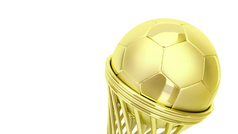 Golden Football Trophy stock footage