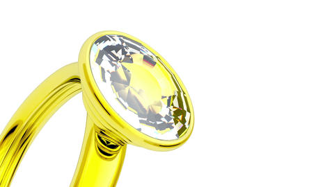 Golden Ring With Big Diamond stock footage