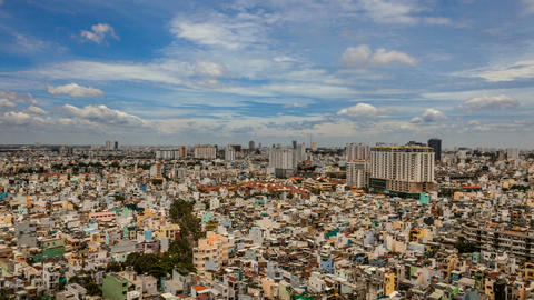 1080 - CITY AERIAL VIEW - SAIGON Timelapse Stock Video Footage