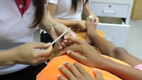 Nails Being Filed During Manicure Stock Video Footage