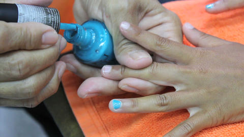 Blue Paint On Nails During Manicure Footage