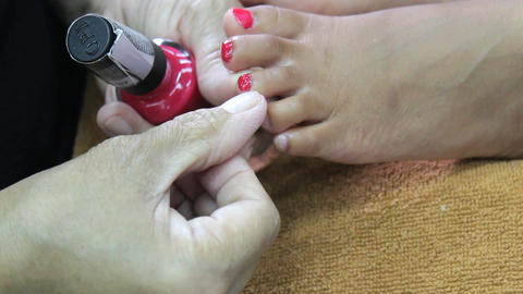 Toe Nail Painted During Pedicure Stock Video Footage