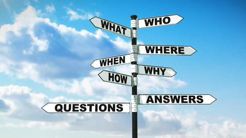 Signpost With Common Questions On Blue Sky With Cl stock footage