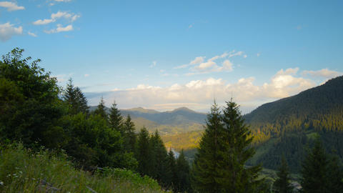 The movement of clouds high in the Carpathian Moun Stock Video Footage