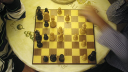 Chessboard chess players table 2 Stock Video Footage