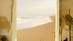 Door to a sandy beach Stock Video Footage