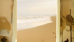 Door to a sandy beach Footage