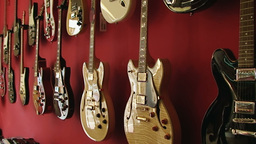 Guitar shop 1 Stock Video Footage