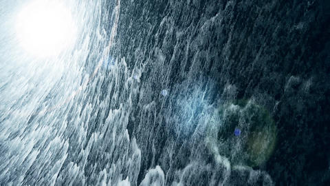 Torrential waterfall & spray with light Stock Video Footage