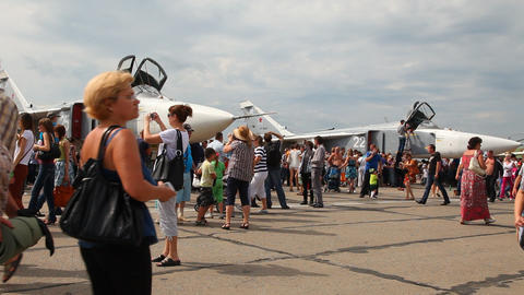 Air show in honor of the Air Force of Russia Stock Video Footage