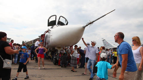 People inspect the aircraft SU-24 Footage