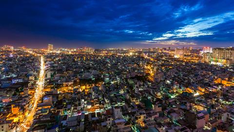 4K - CITY SUNSET - HO CHI MINH CITY TIME LAPSE Stock Video Footage