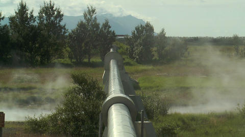 hot water pipeline in iceland for telheating Stock Video Footage