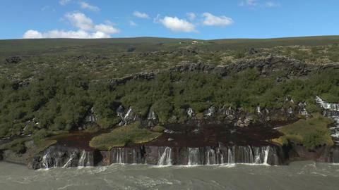 hraunfossar waterfall in iceland Footage