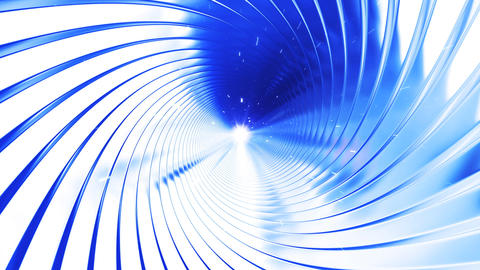 Flight through the tunnel made of metal swirl, loo Animation