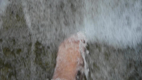 Torrential waterfall & spindrift,play water with foot Animation