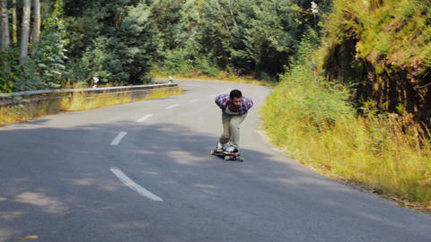 Skateboarding training downhill Footage
