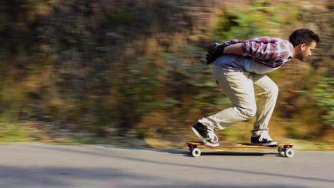 Skateboarding training downhill Stock Video Footage