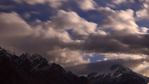 Moonrise in the mountain. Time Lapse Footage
