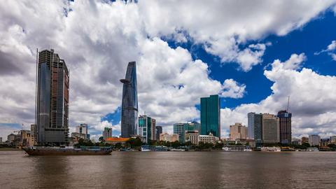 1080 - CITY SKYLINE - Zoom on Ho CHi Minh City, VI Stock Video Footage