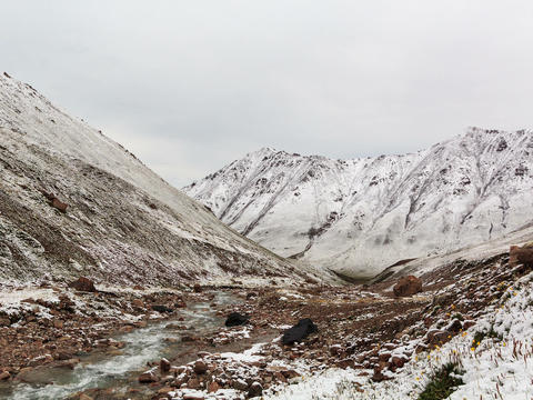Snow melts in the mountains. Time Lapse. 4x3 Stock Video Footage