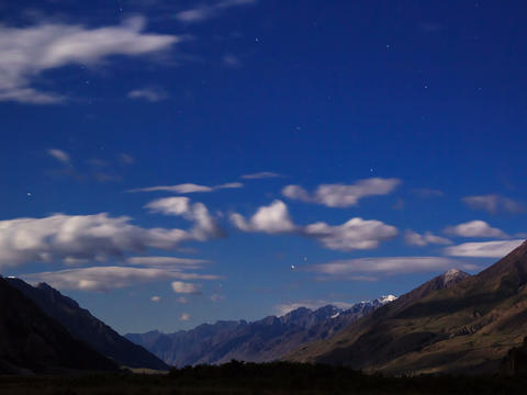 Moonlit night in the mountains. Time Lapse. 4x3 Footage