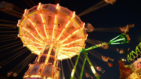 Funfair Oktoberfest Classic Carousel 11055 stock footage