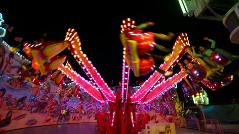 funfair oktoberfest carousel jumping 11057 Stock Video Footage