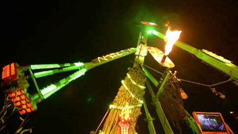funfair oktoberfest carousel attraction super wide Stock Video Footage
