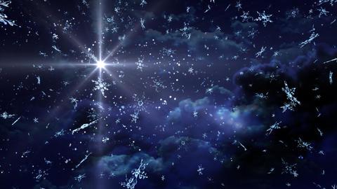 blue Starry Night snow falling Stock Video Footage