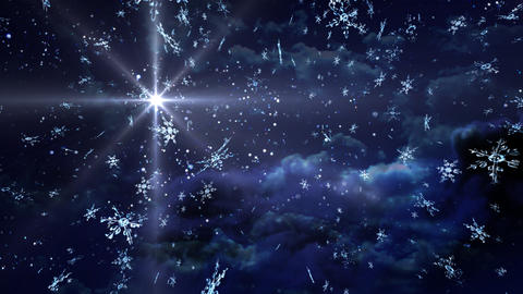 blue Starry Night snow falling Stock Video Footage